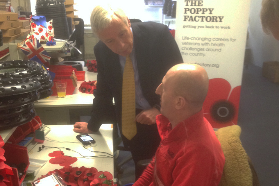 Earl Howe met Gary Lock, an ex Serviceman from 4 Battalion Royal Regiment of Wales.