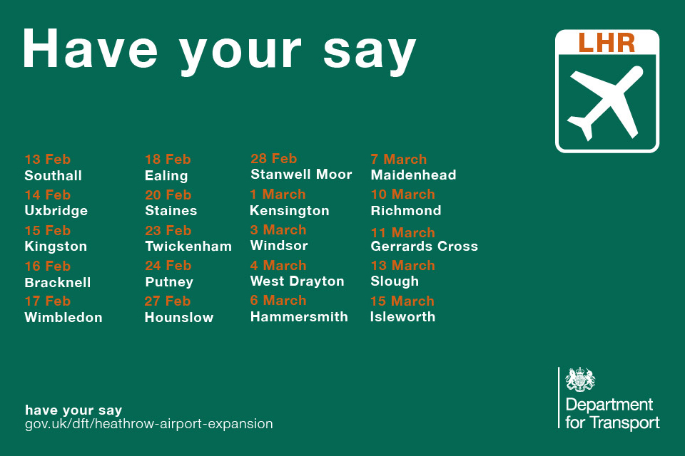 Heathrow Airport expansion consultation information events.