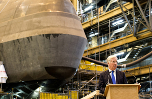 Defence Secretary Sir Michael Fallon beginning construction of the Royal Navy's Dreadnought nuclear submarine at Barrow in November. Crown Copyright