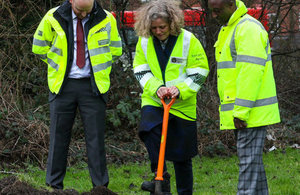 Representatives from the Environment Agency and Calthorpe estates breaking ground at the site