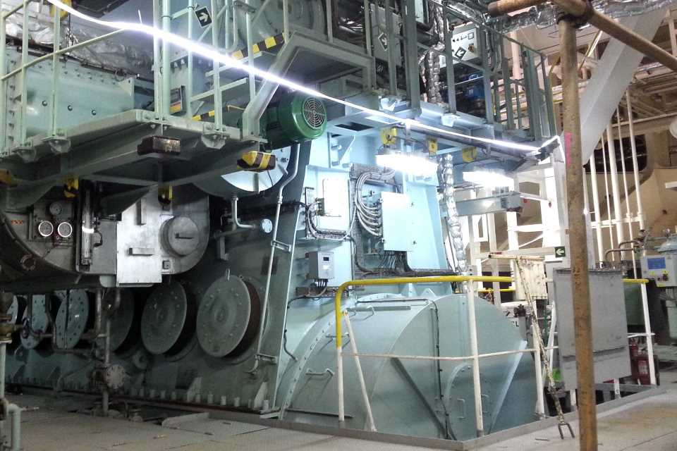 A three-storey high, 12,900 BHP main engine of a 45,578 tonne tanker