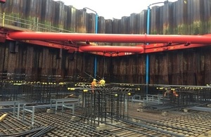 Newly installed cofferdam at Ipswich Flood Barrier site