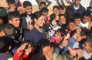 Priti Patel with Syrian refugees in Azraq Camp, Jordan.