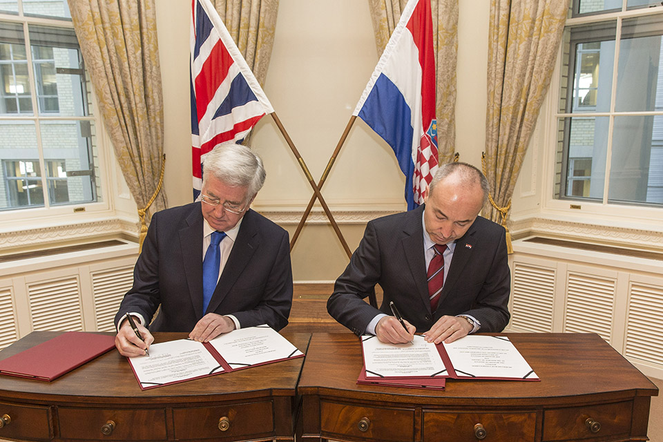 Defence Secretary Sir Michael Fallon and Croatia's Deputy Prime Minister and Defence Minister Damir Krstičević signed a Defence agreement during the visit. Crown Copyright.