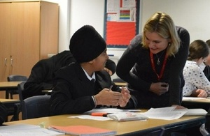 Justine Greening in a school