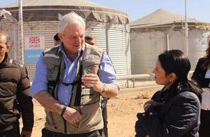 Priti Patel and UN OCHA's Stephen O'Brien pictured at the Azraq refugee camp in Jordan last week.