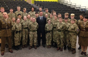 Defence Minister Mark Lancaster meets Army Cadets at Brompton Academy as he announces 25 schools to create new cadet units. Crown copyright.