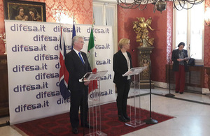 Defence Secretary Sir Michael Fallon today met with his Italian counterpart Roberta Pinotti. Picture: British Embassy Rome.