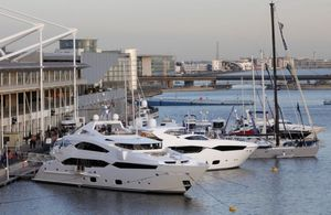 The boat marina at the London Boat Show