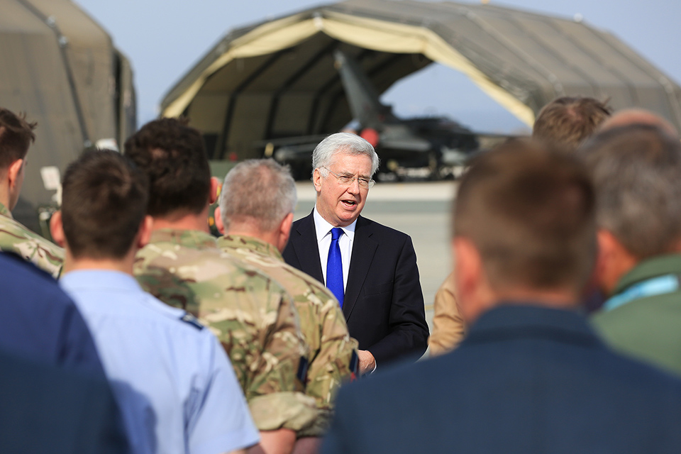 Defence Secretary Sir Michael Fallon met UK Armed Forces personnel at RAF Akrotiri during the visit. Crown Copyright.