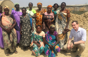 Minister James Wharton meets women benefiting from UK aid at Malakal Protection of Civilians site