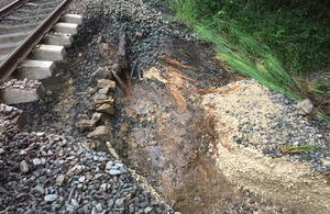 Image of unsupported rail near Baildon (Courtesy of Network Rail)