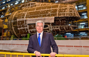 Secretary of State for Defence Sir Michael Fallon in front of the forward end of boat six. Picture: Michael Vallance, BAE Systems.
