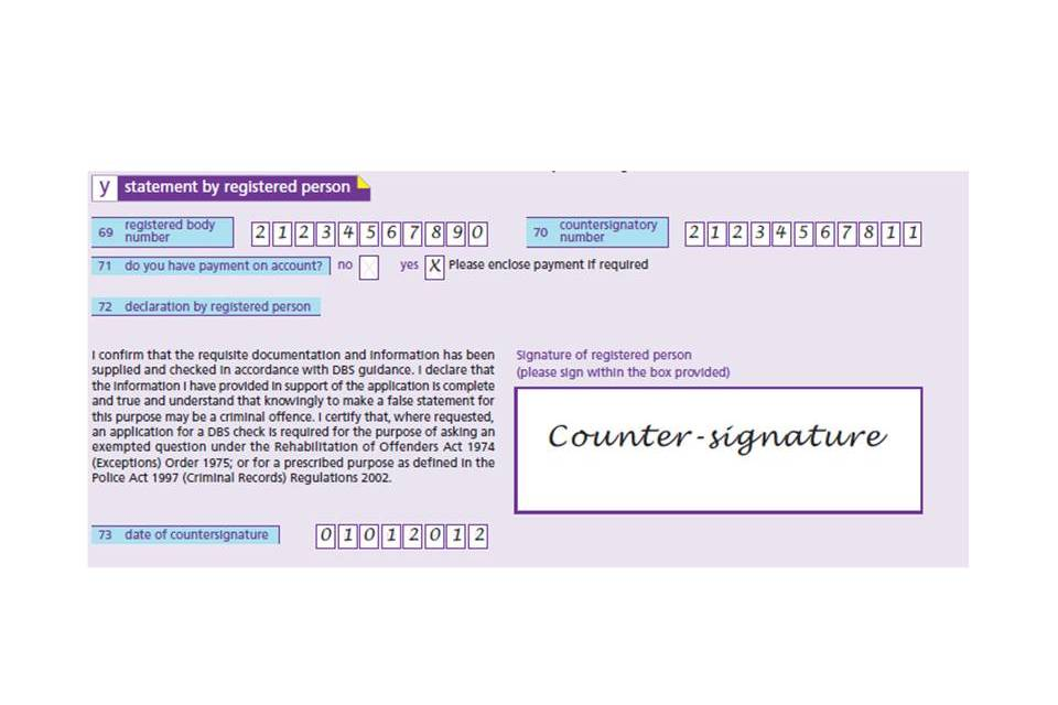 Dbs Application Form Guide For Countersignatories Gov Uk