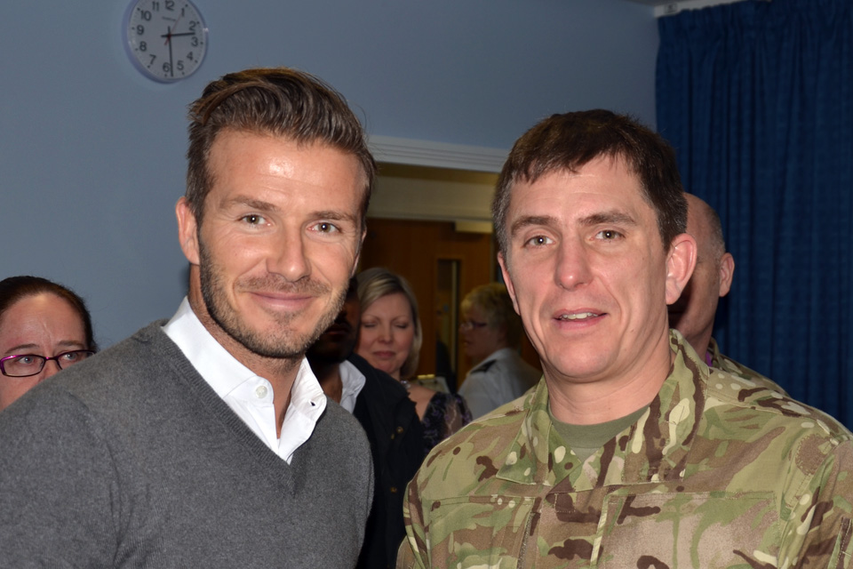 David Beckham with a serviceman at the Queen Elizabeth Hospital Birmingham