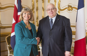 Minister for Defence Procurement Harriett Baldwin with her French counterpart Laurent Collet-Billon at Lancaster House