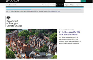 Screenshot of the DECC homepage on the gov.uk website