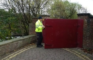 Image shows the current flood gates at Yarm being closed