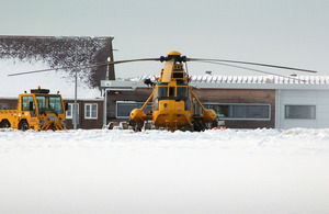 A Royal Air Force Search and Rescue Sea King helicopter on standby at RAF Valley [Picture: RAF SAR Force, Crown Copyright/MOD 2013]
