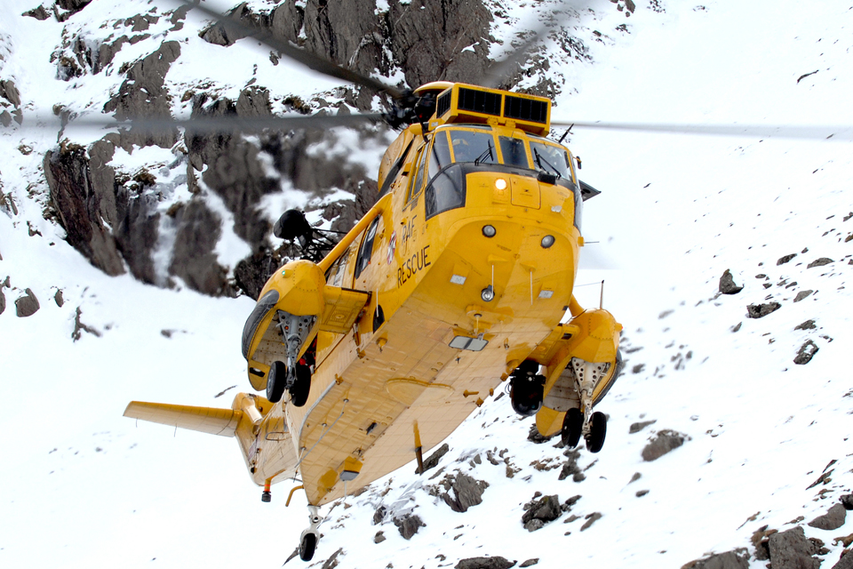 A Royal Air Force Search and Rescue Sea King helicopter