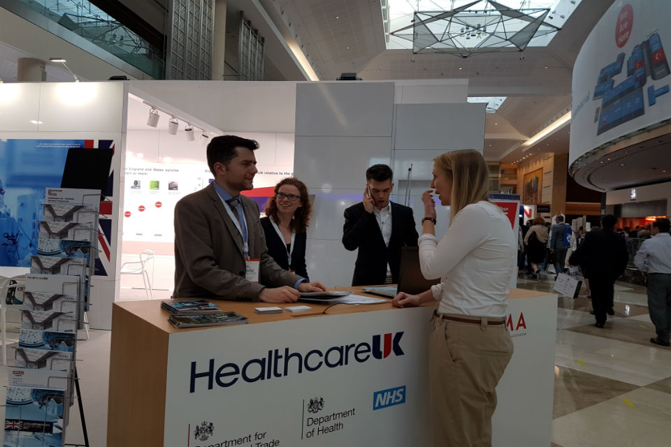 The Healthcare UK team at their stand in the heart of the Arab Health trade show.
