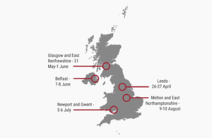 Map of the UK showing the LPC's visits for 2017