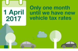 One month to go until new vehicle tax rates come into force.