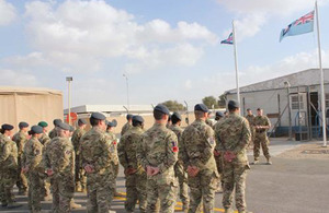 Air Commodore Phil Beach addresses personnel from 906 Expeditionary Air Wing [Picture: Crown Copyright/MOD 2013]