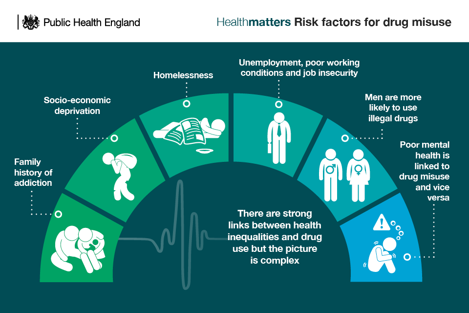 Infographic showing risk factors for drug misuse