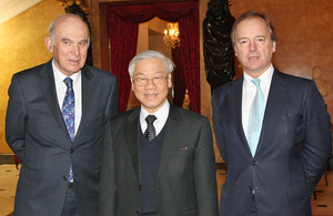Vince Cable with Nguyen Phu Trong and Hugo Swire.
