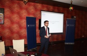 Andrew Cuff, Press Attaché' and Deputy Head of Communications at Chevening South Asia Journalism Program (SAJP) Fellowship pre-departure briefing organised by the British High Commission.