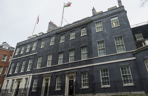 Welsh flag flying over 10 Downing Street