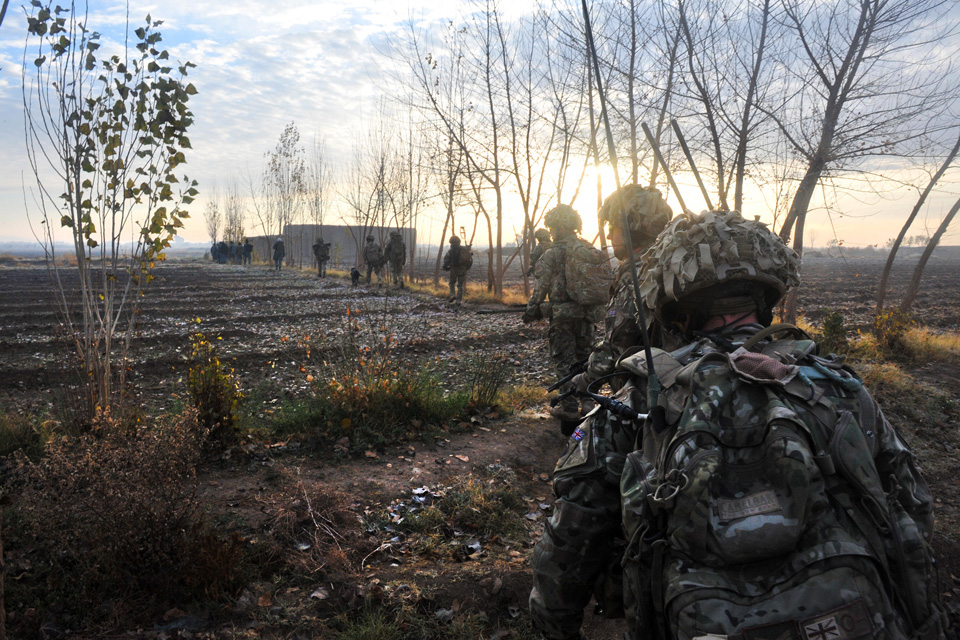 Soldiers of 1st Battalion The Duke of Lancaster's Regiment on patrol