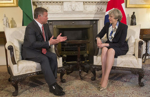 Prime Minister Theresa May speaking with King Abdullah of Jordan at 10 Downing Street