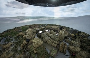 Soldiers inside a simulation tent