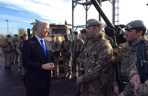 The Defence Secretary Sir Michael Fallon met soldiers from Scots-based Army units.