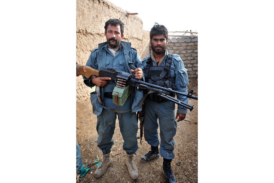 Afghan Uniform Police Officers Abdul and Torjan