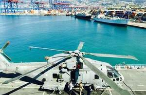 Helicopter on board of HMS Ocean at Beirut port