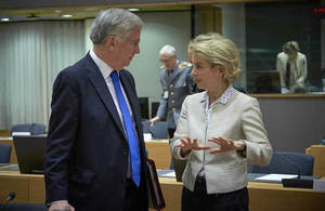 Sir Michael speaks to German Defence Minister Ursula von der Leyen today's meeting.