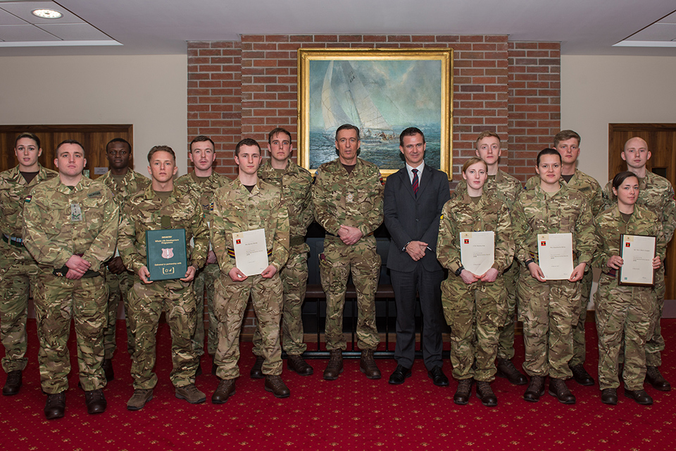 Defence Minister Mark Lancaster introduced some of the highest performing soldier apprentices. Crown copyright.