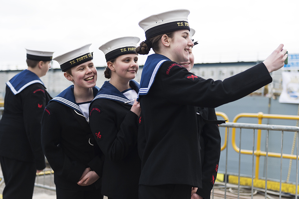 Sea Cadets attending the naming ceremony. Crown Copyright