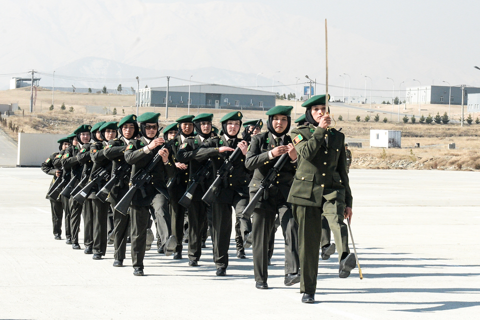 Female officer cadets march at the graduation ceremony