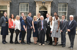Apprentices were invited to Number 10 for this exciting opportunity which included going inside for a tour