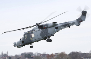 The first Royal Navy Wildcat HMA Mark 2 attack helicopter undertakes its maiden flight at AgustaWestland in Yeovil, Somerset [Picture: AgustaWestland 2013]