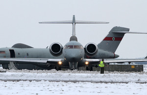 A No 5 (Army Cooperation) Squadron Sentinel aircraft prepares for take-off [Picture: Sergeant Si Pugsley, Crown Copyright/MOD 2013]
