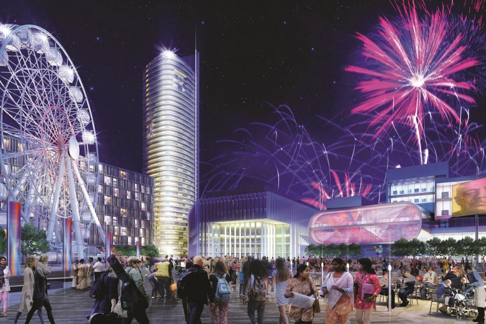 Impression of a night festival at the new Birmingham Smithfield development © Birmingham City Council