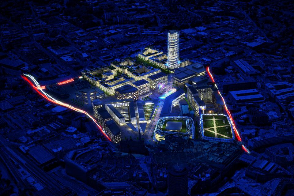 Impression of the new Birmingham Smithfield development by night © Birmingham City Council