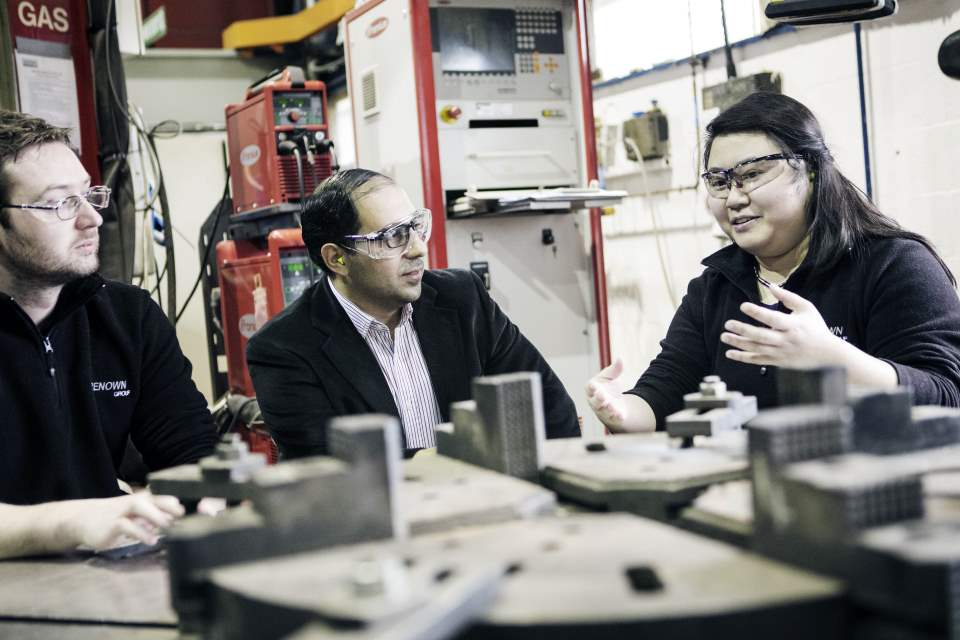 KTP associate Lydia Chan in a meeting with colleagues at Renown's manufacturing facility.