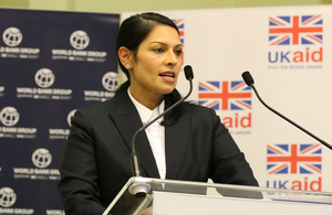 "International Development Secretary Priti Patel speaks at the the ""Transforming Investment Risk"" event hosted together with the President of the World Bank Group, Jim Yong Kim."