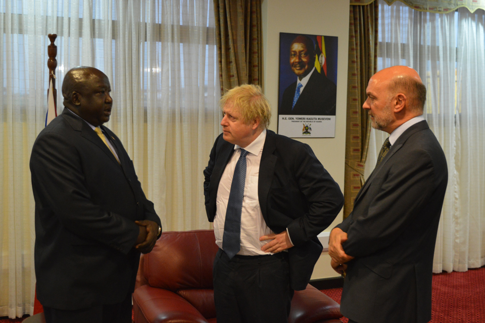 Foreign Secretary Rt Hon Boris Johnson meets with State Minister for Foreign Affairs Hon Okello Oryem during his visit to Uganda